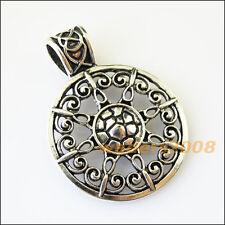 2 New Flower Tibetan Silver Bail Bead Fit Bracelet Chrams Connectors 34.5x46mm