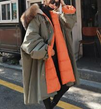 2019 Womens Big Fur Collar Hood parkas Over Knee Length Padded trench long Coat
