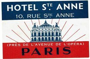 HOTEL ST.ANNE luggage DECO label (PARIS)