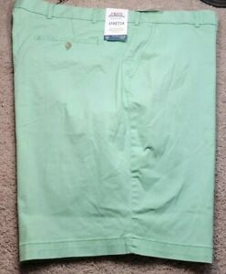 NWT! IZOD SALTWATER-Green Twill, Mens Flt.Fnt, Relaxed Fit Chino Shorts-(52.B)