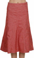 Denim Mid-Calf A-Line Solid Skirts for Women