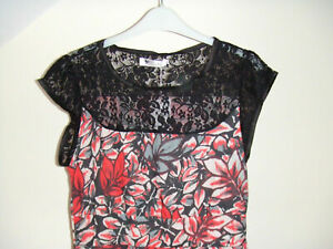 Gorgeous Black & Red Floral with Lace Dress by Cutie - Size 10-12 - BNWT!!