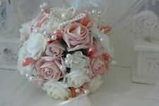 Wedding Flowers Brides Bouquet in Vintage Peach and Ivory