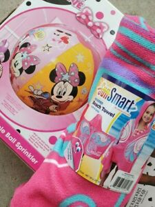 Disney Minnie Mouse Inflatable Ball Sprinkler 28 Inches & Hooded Towel SPF 50