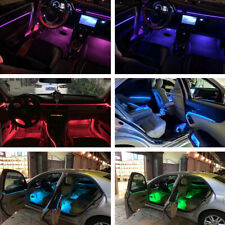RGB 14 LED Car Interior Door Floor Neon Optic Fiber Strip Light Trim Phone APP