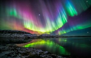 Northern Lights Aurora ART WALL COVER 30x20 Inch Canvas Framed READY TO HANG UK