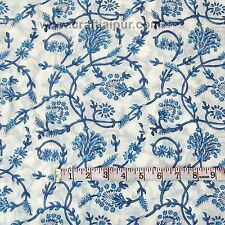 Wooden Block Floral Printed Indian 100% Pure Cotton Voile Fabric Sewing 5 Yard