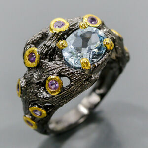 Handmade Design Blue Topaz Ring Silver 925 Sterling  Size 7.5 /R176451