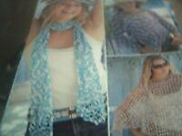 knitting pattern sirdar 8502 poncho scarf  4 yrs to adult