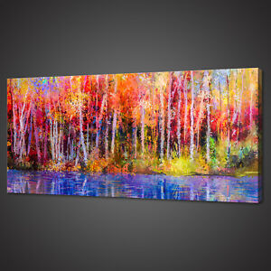 COLOURFUL FOREST PANORAMIC CANVAS PRINT PICTURE WALL ART VARIETY OF SIZES