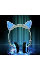 Girls Foldable Cat Ear Headphones LED Glowing Lights Headsets Earphone Purple UK
