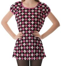 Pink Black White Argyle Women's Clothing Puff Sleeve One Piece Dress