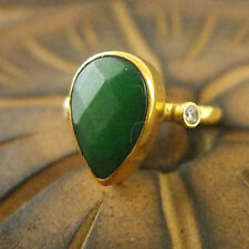 Handmade Hammered Designer Drop Jade Ring 24K Gold Over 925K Sterling Silver