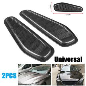 2PCS Car Decoration Air Vent Car Air Flow Scoop Turbo Bonnet Vent Carbon Fiber