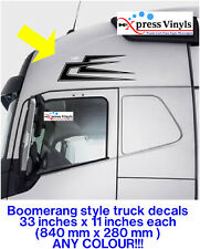 DAF Volvo Scania boomerang decals x 2 truck body graphics stickers ANY COLOUR