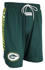 Zubaz NFL Men's Green Bay Packers Team Logo Zebra Side Seam Shorts, Green