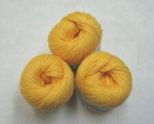 3 Skeins Caron Cotton Tales 100% Mercerized Cotton Yarn Golden Yellow Gold