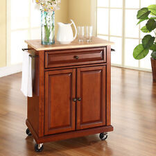 Cherry Slim Kitchen Island Cart Wood Top Home Living Dining Storage Furniture