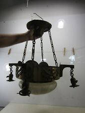 Antique Art Deco Brass & Glass Chandelier- 5 Light