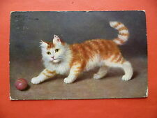 Fluffy ginger white cat, green eyes, plays with red ball, Sofie Sperlich, 1911