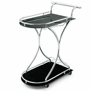 Durable Glass Serving Dining Kitchen Rolling Bar Cart w/Metal Frame