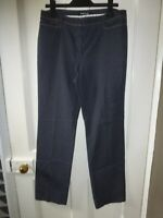 BETTY BARCLAY COLLECTION SIZE 14 32W 30L BLUE POLY/COTTON SLIM LEG TROUSERS