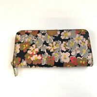 Fossil Womens Wallet Zip Around Accordion Multicolor Floral Print Pink Brown