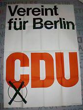 Cdu-combina para Berlín (grande, original campaña electoral-cartel de 1967!!!)