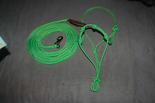 14' LIME GREEN LEAD ROPE WITH BULL SNAP & TRAINING HALTER FOR PARELLI METHOD