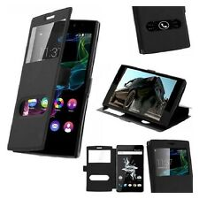 Housse Etui Double Fenetre Noir Black pour Huawei P10 Lite