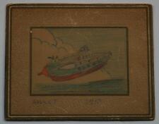 Adorable 1933 Crayon Drawing of A Rocket Ship