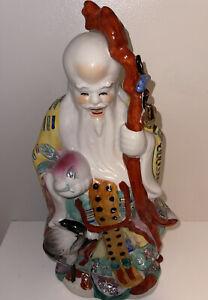 VINTAGE CHINESE PORCELAIN FIGURINE OF SHOU XING God OF LONGEVITY HAND MADE