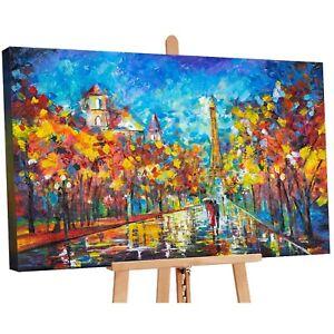 100% Handgemalt Acryl Gemälde handgemaltes Wand Bild Kunst Leinwand Art Paris