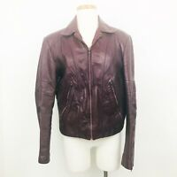 Wilson's Leather Womens Vintage 70s Red Leather Moto Jacket 38 L Large