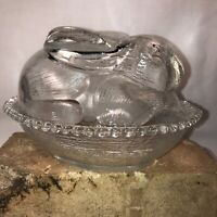 Vintage Indiana Glass Crystal Clear Bunny On A Nest Candy/Trinket  Dish Easter