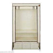 VonHaus Canvas Effect Wardrobe Clothes Cupboard Hanging Rail Storage with 2 Shel