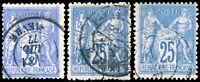 FRANCE - Yv.78 &79 (x2) 25c Sage outremer ou bleu T.II - Oblitéré B/TB