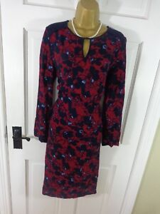 M & S Collection Red & Blue Patterned Lace Dress, UK 12 L, Excellent Condition