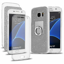 Shockproof 360° Stand Protective Clear GEL Case Cover for Samsung Galaxy PHONES Note 4 Silver Glitter