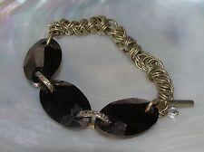 Three Large Bronze Glass Oval Beads with Light Goldtone Chain Stretch Bracelet –
