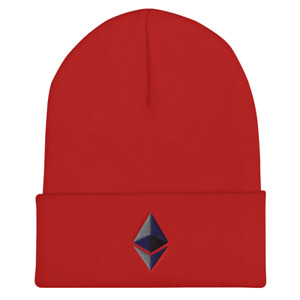 Ethereum Beanie Cuffed Hat Cryptocurrency Knit Ether Cap Crypto Cuffed Beanie