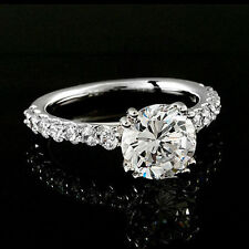 1.90 CT ROUND CUT DIAMOND HALO ENGAGEMENT RING 14K WHITE GOLD ENHANCED