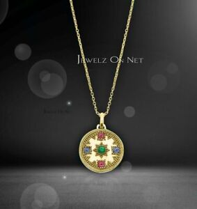14K Gold Genuine Ruby Emerald And Blue Sapphire Vintage Necklace Fine Jewelry