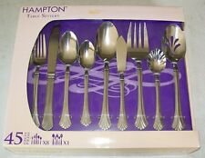 HAMPTON TABLE SETTERS 45 PIECE FLATWARE SET STAINLESS STEEL NEW IN THE BOX
