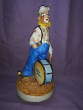 Vintage Porcelain Jt Club Drummer Clown Figurine Music Box