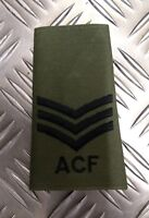 Genuine British Army OD Green ACF 3 Chevrons Sergeant Rank Slide /Epaulette NEW