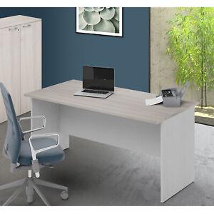 Teak /& Bianco BHEU-AC3BW-160 sogesfurniture Scrivanie 160x60cm Tavolo per Computer Ufficio Postazioni di Lavoro Scrivania PC Tavolo da Pranzo Moderno in Acciaio Legno