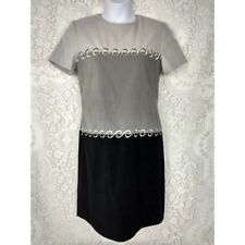 Jessica Howard womens dress plus size 14 short sleeve grey black embroidered