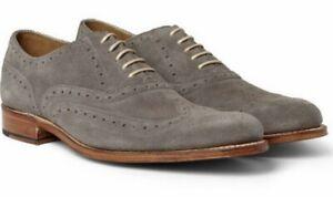 GRENSON Dylan Grey Suede Wingtip Dress Brogues Size UK10 / F £229 *MINT*