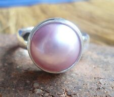 925 Sterling Silver-LH93-Bali Hand Made Ring ROund Pink Mabe Pearl Size 9